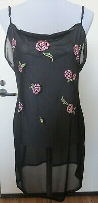 Victorias Secret Black w/Pink Embroidered Flowers Lingerie Teddy Nightgown Large Embroidered Black Teddy
