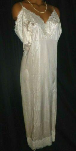 NWT 46 48 2X 3X TALL LONG VTG  Silky Nylon Chanitlly Lace Full Dress Gown Slip