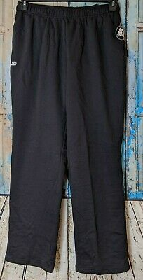 Starter Mens Large Open Bottom Sweatpants with Pockets Black -