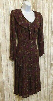 Vtg Maroon Victorian Dress Midi A-Line Steampunk Drop Waist Chelsea Size 8