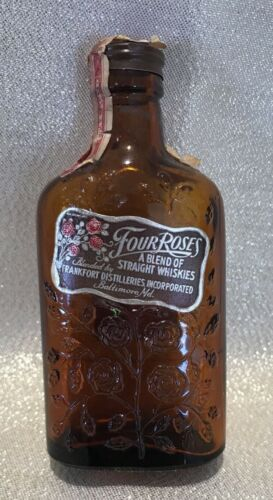 1930s Four Roses Miniature Whiskey Bottle, Embossed, Empty, Tax Stamp 1937