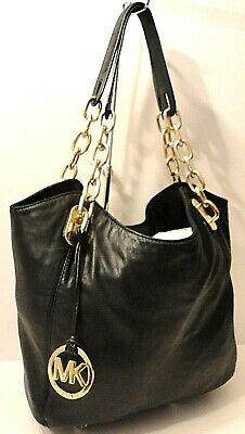 Michael Kors Blk Genuine Leather Chain Satchel Shoulder Bag Purse MK Tag Charm _