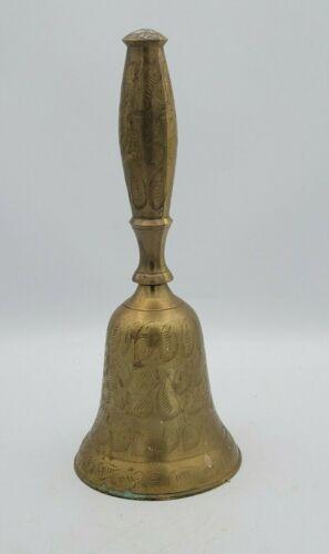 """Vintage Large Brass Dinner Bell 11"""" Etched Design"""