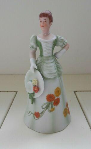1986 Enesco Porcelain Bell Lady Figurine October Birthday Genevieve w/ Calendula