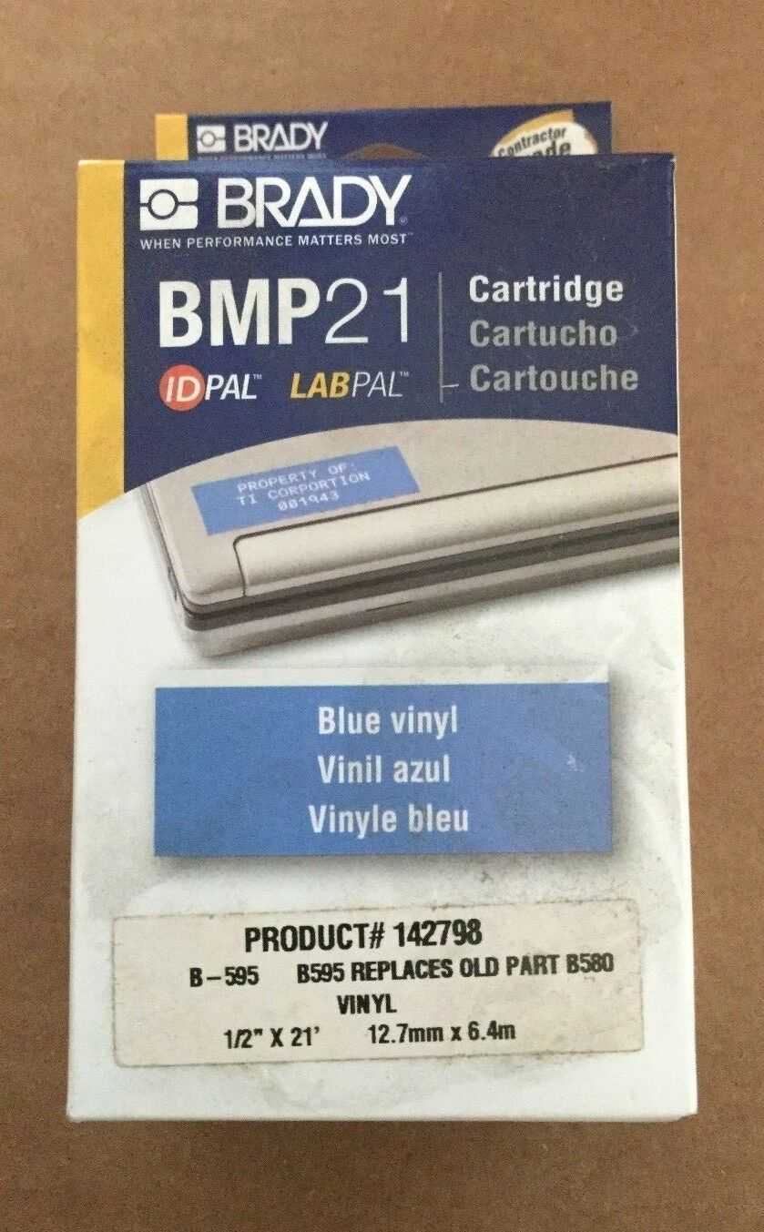 Brady Label maker Cartridge - BMP 21 - Blue Vinyl - 1/2 x 21