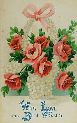 With Love And Best Wishes Basket Bow Roses Divided Back Vintage (With Love And Best Wishes)