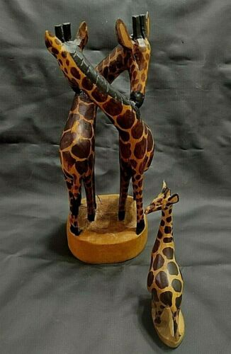 Kenya Africa hand carved Wood Giraffes Embracing + Baby Giraffe 2 pieces collect
