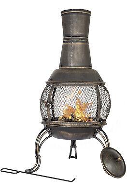 💥La Hacienda Medium Steel Bronze Chiminea patio heater fire pit NEW FREE P&P💥