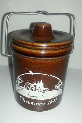 Vintage Christmas 1993 Cheese/Butter Crock - Brown Glazed