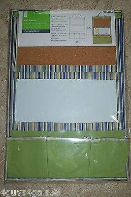 Hanging MEMO Dry Erase & Cork BOARD Message ORGANIZER Pockets 22x15 Stripe Green