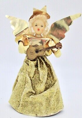 Vtg Wax Foil Glitter Gold Angel Guitar Figurine Tree Topper Christmas Germany