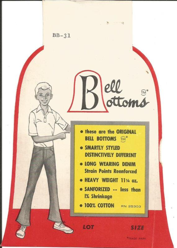 Label-original BELL BOTTOMS,logo.Denim,pants.Vintage US clothing tag= melaneybuy
