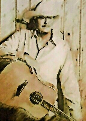 ACEO ATC Alan Jackson Hand-Rendered Wet Watercolor