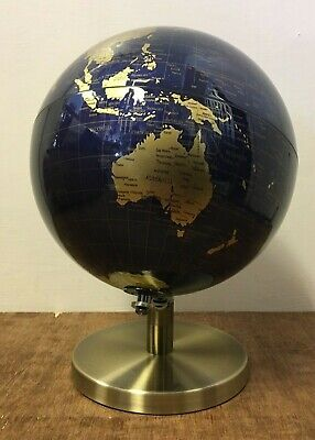 27cm Dark Blue Gold World Globe Vintage Rotating Atlas Office Ornament Home