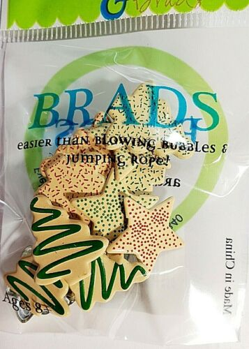 Christmas Cookies Stars Trees Brads Eyelet Outlet 12 Pieces