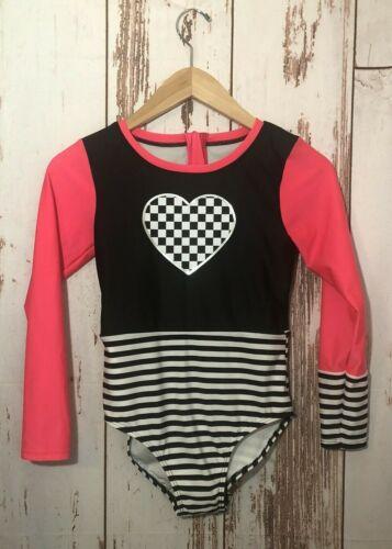 Art Class Girls Black Striped Long Sleeve One Piece Swimsuit L (10/12)-NWOT