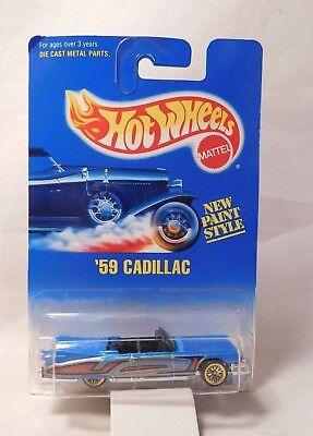 Mattel Hot Wheels 1991 #266 '59 Cadillac Lowrider Blue w/gold wire wheels  NIB for sale  Shipping to Canada