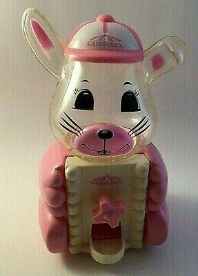 "Vintage Carousel PINK Bunny Rabbit Gumball Machine Plastic 6 1/2""Tall"