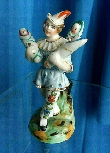 """Antique Harlequin 1850 hand painted porcelain fertility figurine """"KINDERBRINGER"""""""