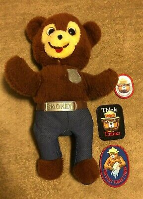 Vintage Knickerbocker Official Smokey Bear Forest Ranger Plush Doll & 3 Patches
