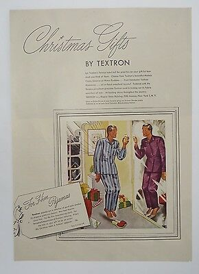 Original Print Ad 1945 TEXTRON Christmas Gifts for Him Pajamas Man in Mirror