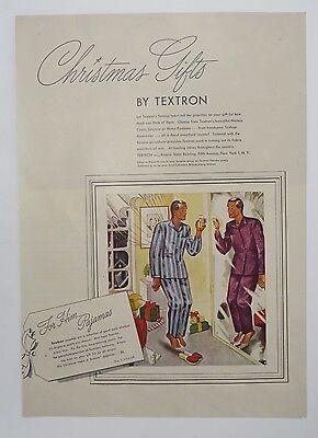 Original Print Ad 1945 TEXTRON Christmas Gifts for Him Pajamas Man in Mirror  ()