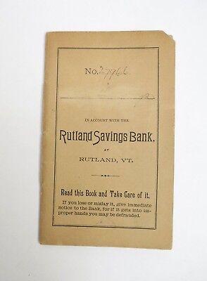 Antique Rutland Savings Bank Deposit Bank Book Vermont Early C20th