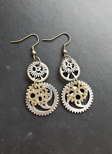 STEAMPUNK EARRINGS bronze silver cogs wheels victorian kitsch 35mm hooks