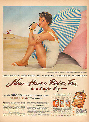 1956 vintage AD SKOL Suntan Lotion , Pretty model at the Beach 112616