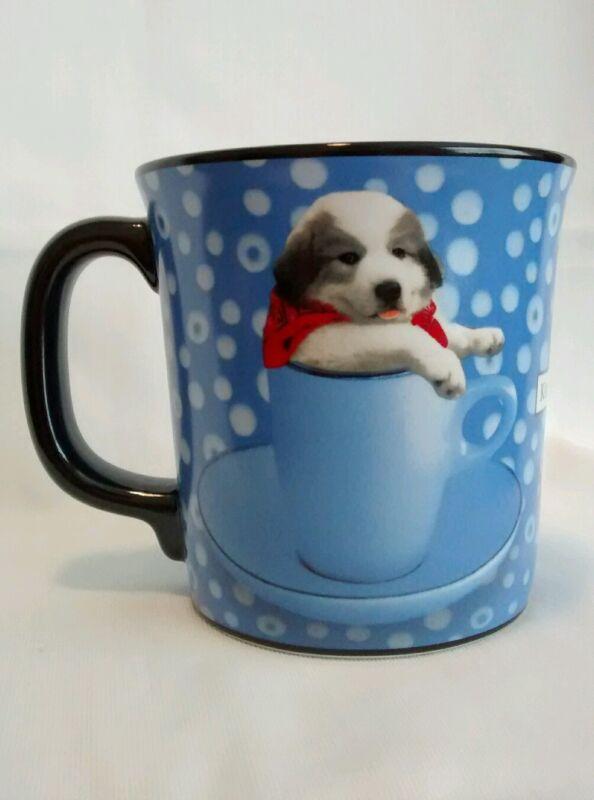 Keith Kimberlin Great Pyrenees Puppy Gray White Dog Blue Mug Cup Cute 10 oz