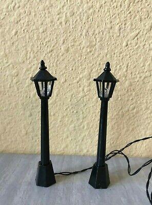 "Miniature Dollhouse FAIRY GARDEN CHRISTMAS Pair 3.75"" LED Street Light Lamp Post"