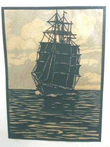 VINTAGE SCHERENSCHNITTE TALL SAILING SHIP SCISSOR ART PAPER