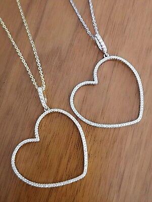 Diamond Heart Shape Pendant - Women's Diamond Pendant Heart Shape with Chain in 14K White/14K Yellow Gold over