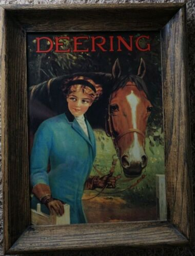 "Richard Atkinson Fox Print Framed Wooden Print, ""Deering"" 13x17, girl with horse"