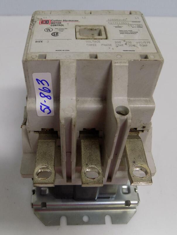 CUTLER HAMMER MODEL J SIZE 3 MOTOR CONTROL STARTER A200M3CAC