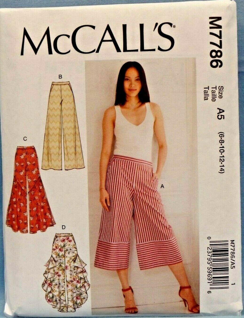 MCCALLS PATTERN 7786 PANTS MISSES SIZES 6 8 10 12 14 UNCUT - $8.25