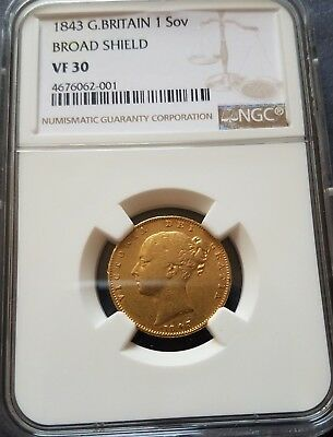 1843 Great Britain Gold Sovereign Broad Shield Type NGC VF 30