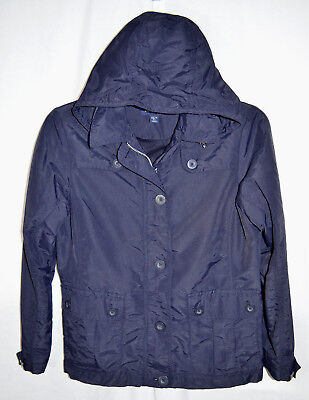 Womens Storm Front Jacket (Lands' End Whirlwind Hooded Jacket Navy Zip/Button Storm Flap Front Women XS 2-4)