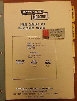 Pettibone Mercury Parts Maintenacne Manual Model A460hgt-26 Sn74767-74771