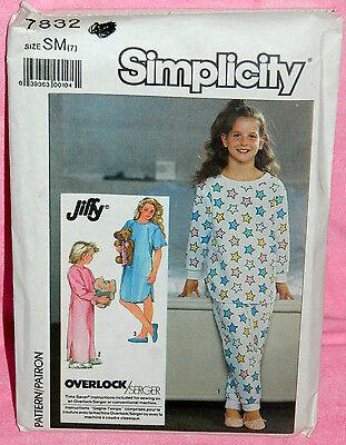 Uncut Simplicity Jiffy Girls Size 7 Nightgown Pajama Pants & Top Pattern 7832