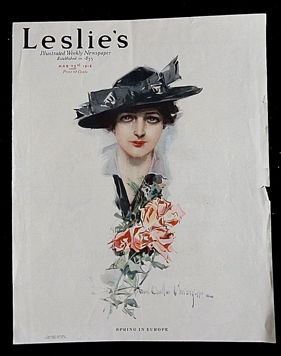 1916 Leslie s Cover Print Lady Black Hat Red Roses Howard Chandler Christy - $2.49