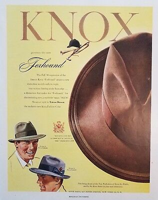 1949 Knox Hat Foxhound Totem Brown Mens Fashion Style 1940s Vintage Print Ad