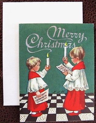 Vintage Christmas Card UNUSED Brownie Erica Von Kager Choir Boys One Candle  Choir Christmas Card