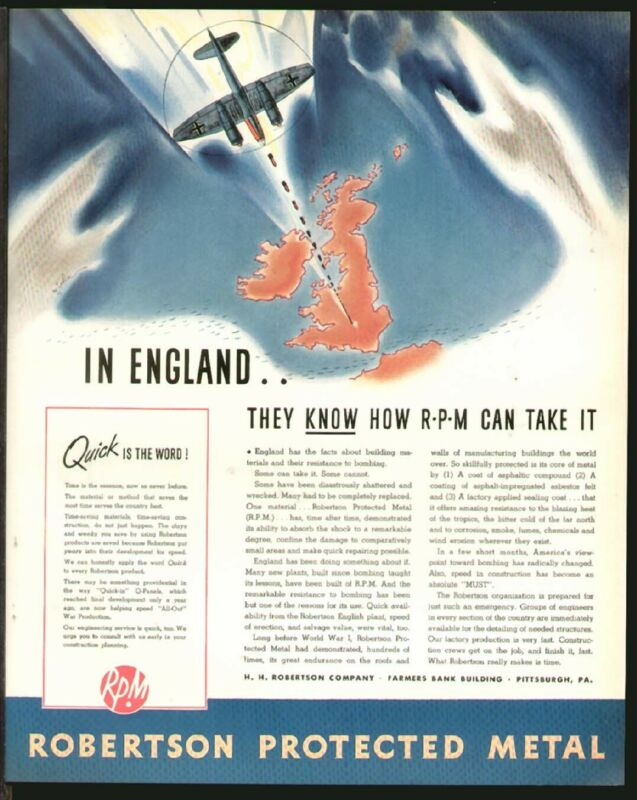 Robertson Protected Metal LONDON BLITZ Nazi Plane MAY 1942 Original Print Ad