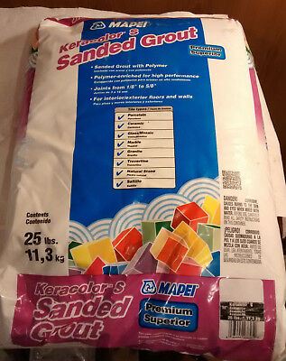 New 25lb bag of Keracolor S Sanded Grout AVALANCHE color tile floor - Fast SHip
