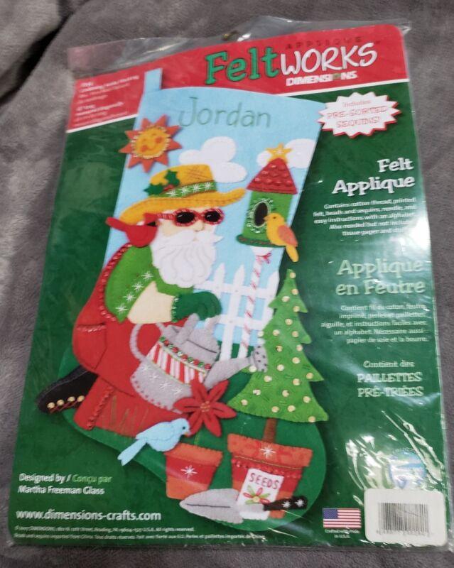 Dimensions Gardening Santa Felt Applique Stocking Kit 8154 NEW SEALED