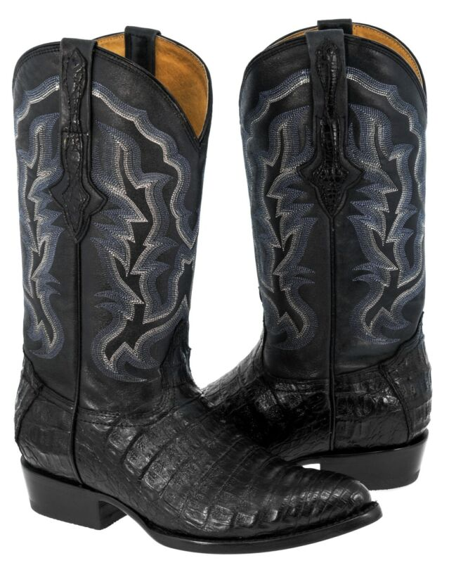 Mens, Smooth, Genuine, Crocodile, Belly, Skin, Leather, Cowboy, Boots, Western, J, Toe