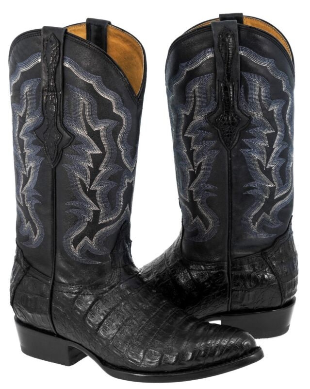 Mens, Black, Genuine, Crocodile, Belly, Exotic, Skin, Leather, Cowboy, Boots, Pointed, Toe