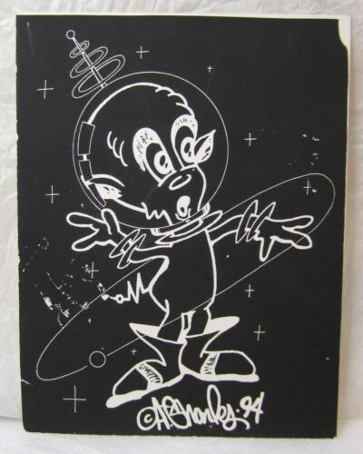 RARE VINTAGE ALIEN RAVE FLYER DJ JACKIE CHRISTIE 90s NYC HAND PRINTED ART DESIGN