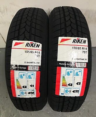 2 x 155/65 R14 Riken (Michelin) Snow Time B2 75T 155 65 14 - TWO TYRES